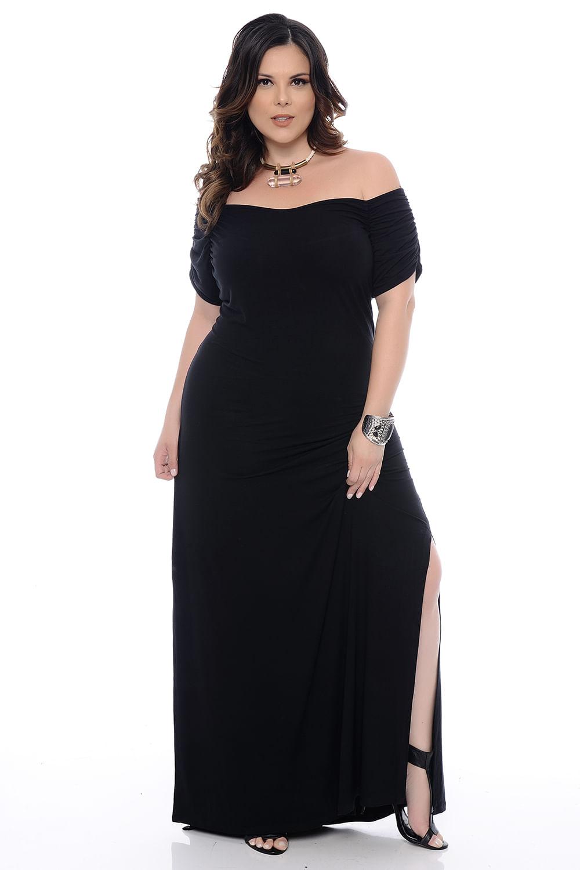 9c3c2a3653 Vestido Longo Preto Plus Size - Chic e Elegante