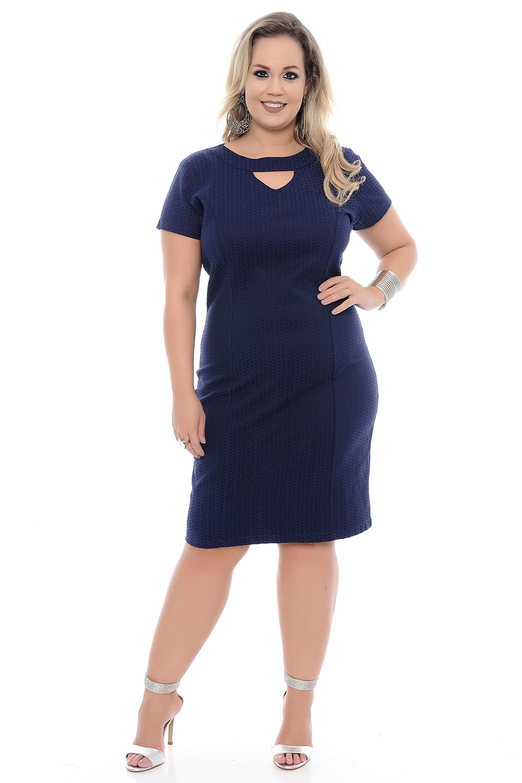 Vestido social azul marinho