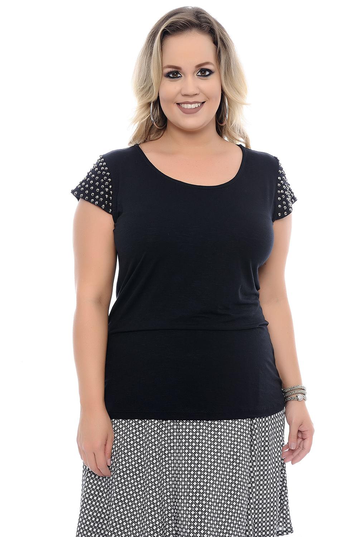 24e856a48 Blusa Pedraria Plus Size - Chic e Elegante