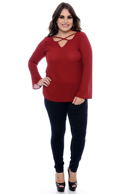 ab6d7e785 Blusa Strappy Marsala Plus Size - Chic e Elegante