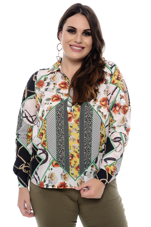 d3d21a5d4fa Camisa Feminina Corrente Plus Size - Chic e Elegante