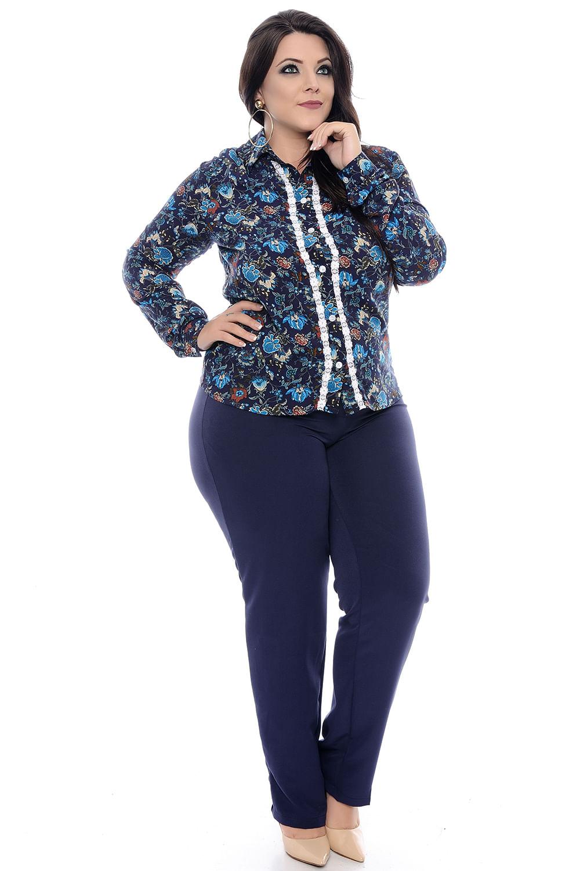 6b20c6a86 Calça Social Azul Alfaiataria Plus Size - Chic e Elegante