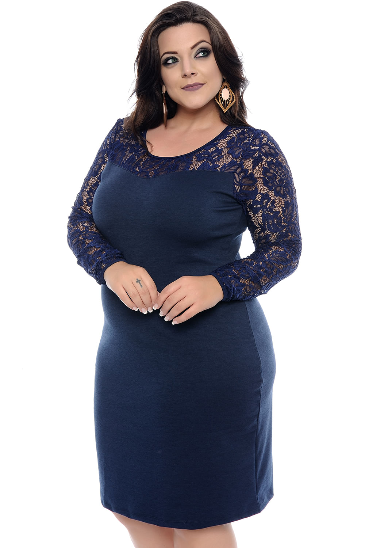 e5f51cbdf7d4 Vestido Tubinho Azul Manga Longa Plus Size - Domenica Solazzo - Chic ...