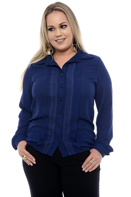0a72f40f90 Camisa Feminina Azul Plus Size - Chic e Elegante