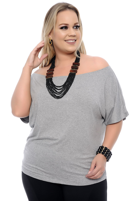 93b06ada54 Blusa Big Cinza Plus Size - Chic e Elegante