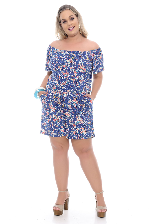 be6a0777b0 Macaquinho Azul Floral Plus Size - Chic e Elegante