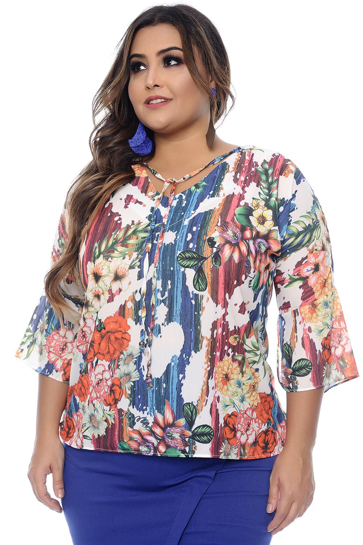 5fc2785733 Blusa Flores Plus Size - Chic e Elegante
