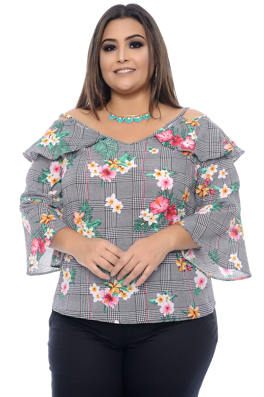 03dcf1fc0bf9 Blusa Xadrez Plus Size - Chic e Elegante