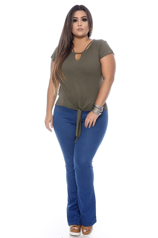 df7f617575 Blusa Verde Amarração Plus Size - Chic e Elegante