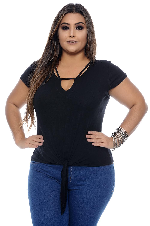 a8161bedf Blusa Preta Amarração Plus Size - Chic e Elegante