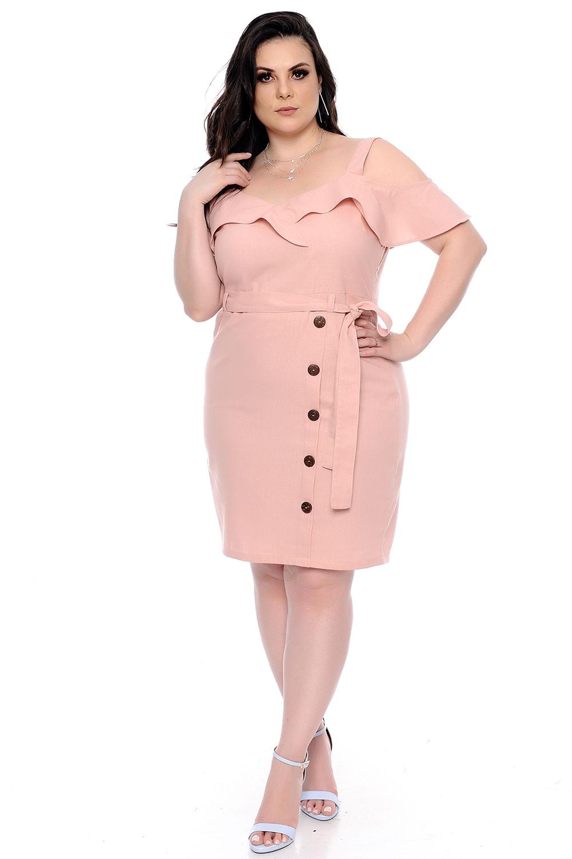 93c771583 Vestido Linho Babado Plus Size - Chic e Elegante