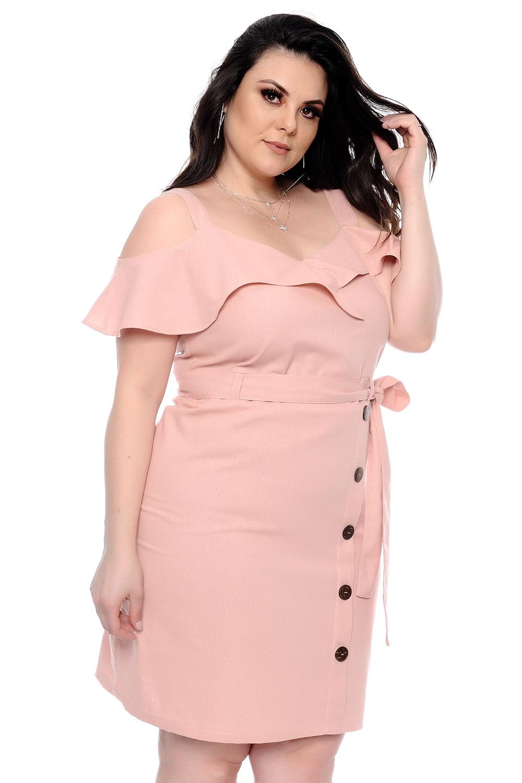 4c9a503da Vestido Linho Babado Plus Size - Chic e Elegante