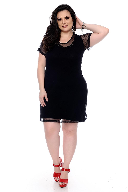 1beab4ab9 Vestido Preto Tule Plus Size - Chic e Elegante