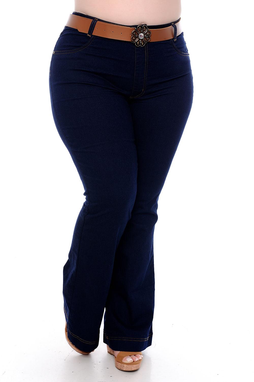 a8d81d9e13 Calça Flare Escura Jeans Plus Size - Chic e Elegante