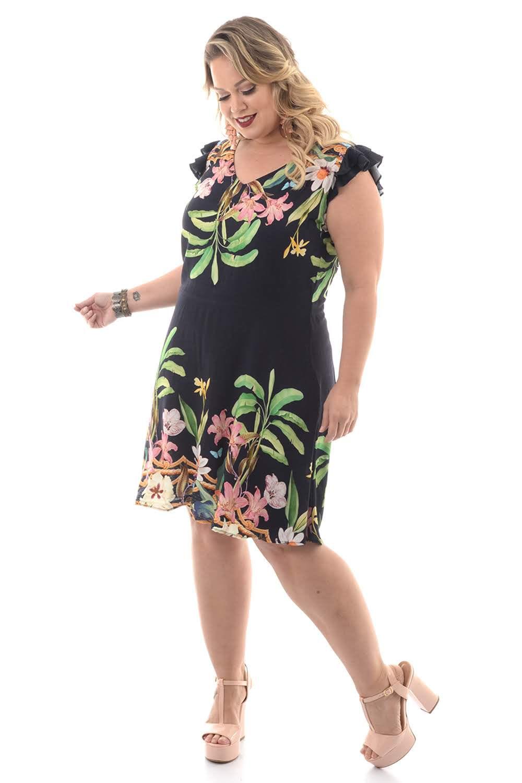 ea1639b0d Vestido Primavera Marinho Plus Size - Chic e Elegante
