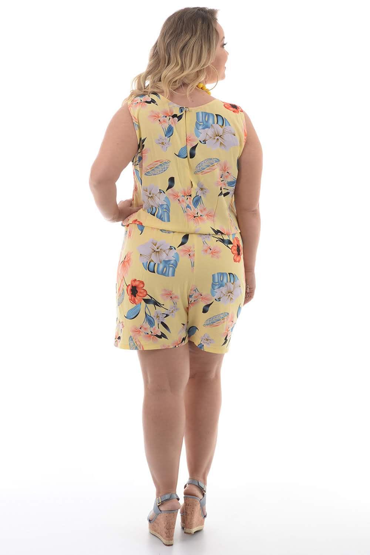 11ee44a90 Macaquinho Amarelo Nó Plus Size - Chic e Elegante