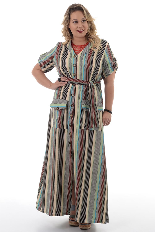 Vestido Longo Listras Plus Size Chic E Elegante