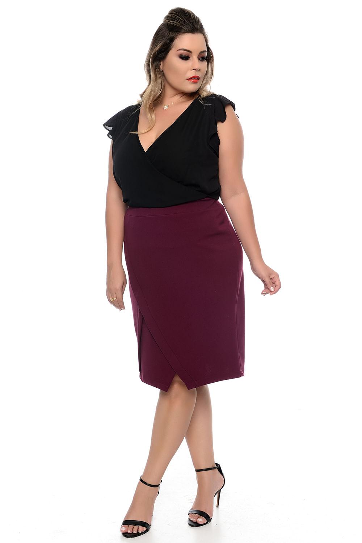 f6ce7b675 Blusa Transpassada Preta Plus Size - Chic e Elegante
