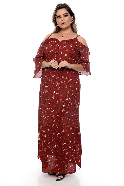f6fc8bc2d6 Vestido Florença Marsala Plus Size - Chic e Elegante