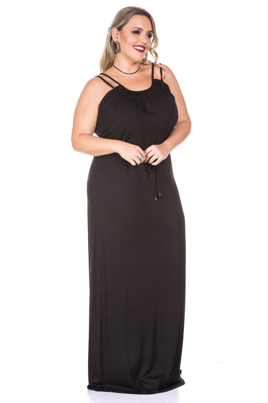 f802b9c923 Vestido Preto Longo Plus Size - Chic e Elegante